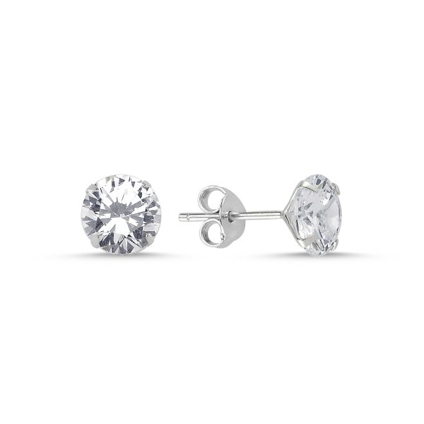 7mm Round Solitaire CZ Stud Earrings - E01449
