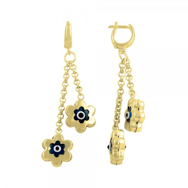 Gold Plated Evil Eye Daisy Earrings - E14527