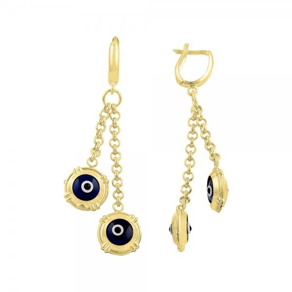 Gold Plated Evil Eye Earrings - E14530