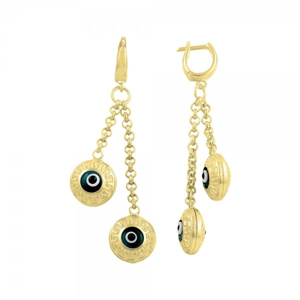Gold Plated Evil Eye Earrings - E14532
