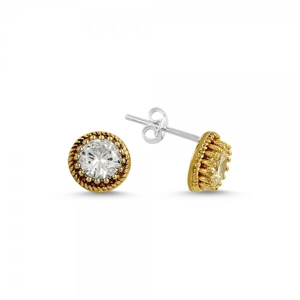 Ottoman Style Round Solitaire CZ Stud Earrings - E14590