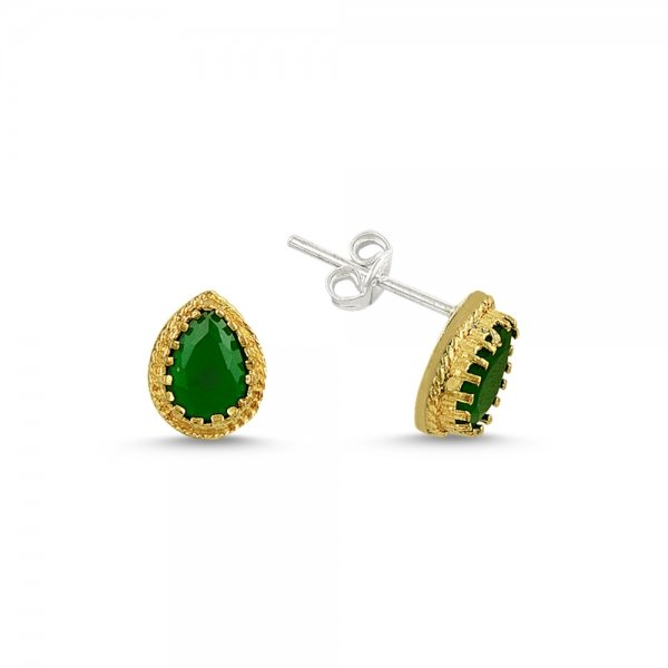 Ottoman Style Pear Solitaire CZ Earrings - E14591