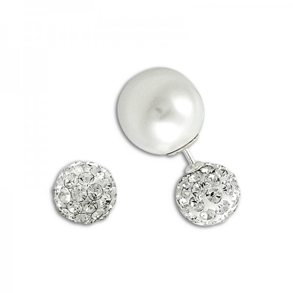 Double Sided Pearl & Crystal Earrings - E14623