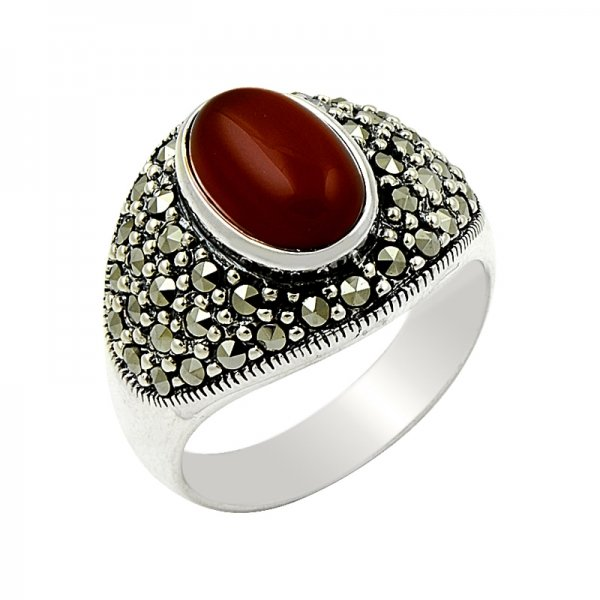 Agate & Marcasite Ring - R14641