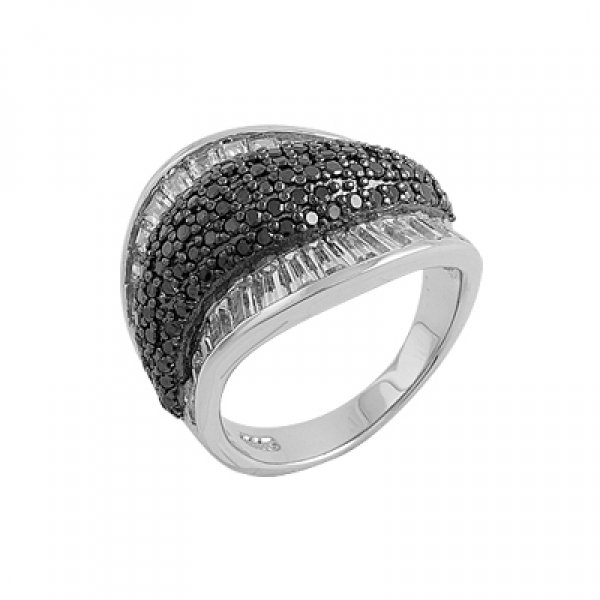 Rhodium Plated Zirconia Ring - R00212