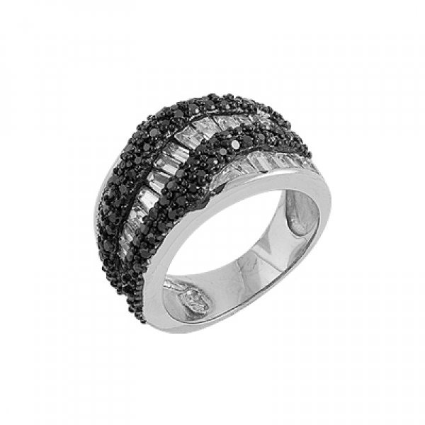 Rhodium Plated Zirconia Ring - R00213
