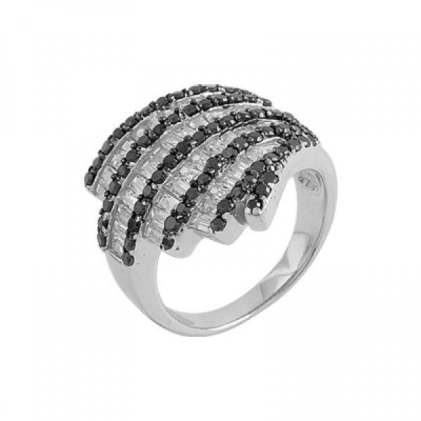 Rhodium Plated Zirconia Ring - R00216