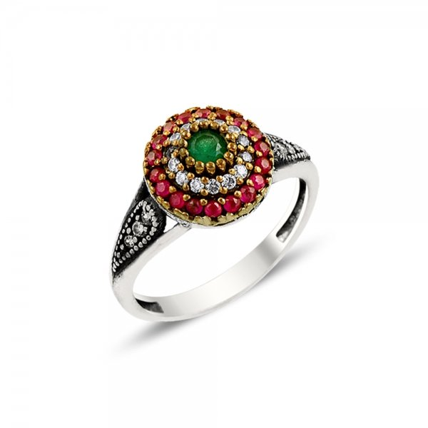 Round CZ Ottoman Style Ring - R08030
