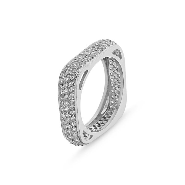 Rhodium Plated CZ 3 Line Square Eternity Ring - R81812