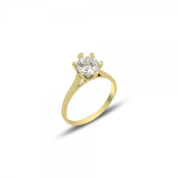 CZ Solitaire Gold Plated Ring - R82125