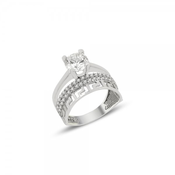 CZ Half Eternity & Solitaire Ring - R82145