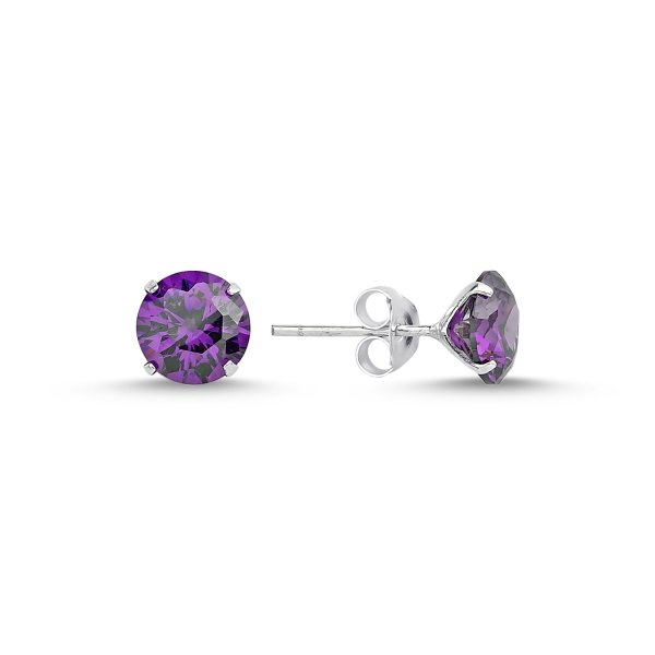 7mm Round Solitaire Amethyst CZ Stud Earrings - E82170