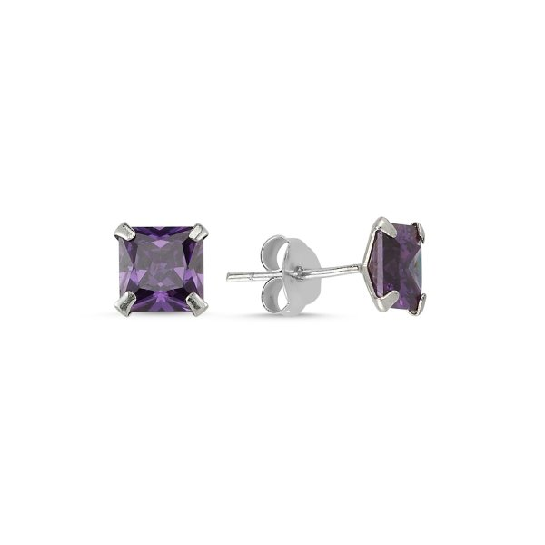 6mm Square Solitaire Amethyst CZ Stud Earrings - E82173
