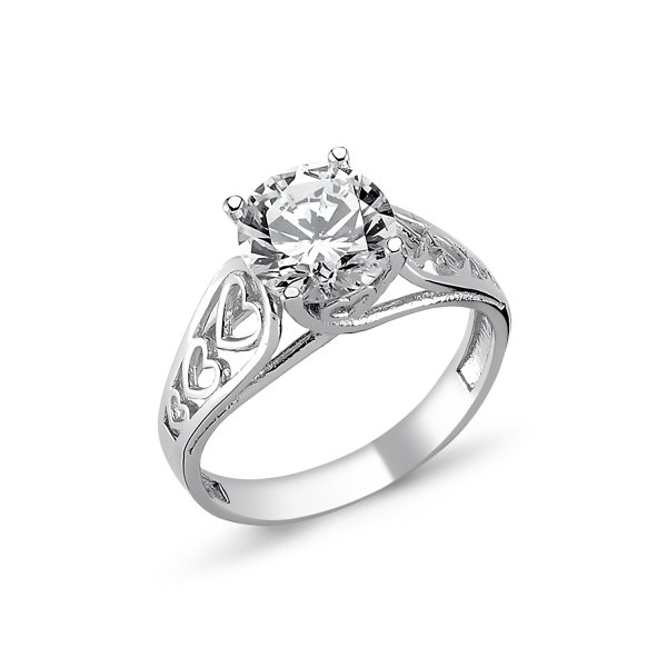 CZ Heart Design Solitaire Ring - R82315