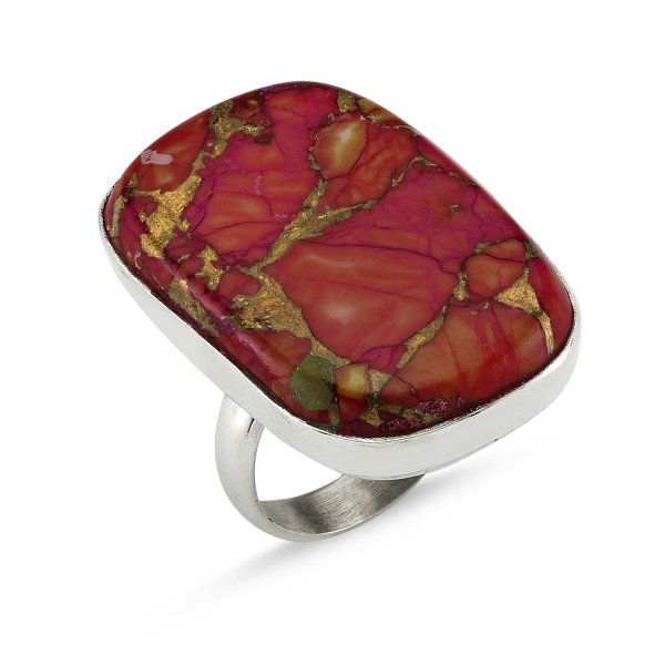 Copper Turquoise Square Stone Ring  - R82405