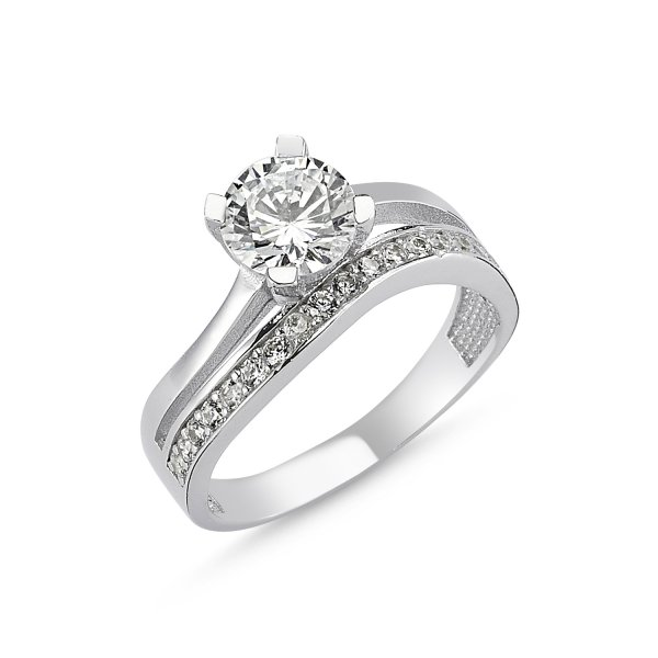 CZ Single Line Twist Half Eternity & Solitaire Ring - R82540