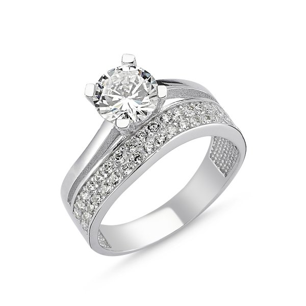 CZ Two Lines Twist Half Eternity & Solitaire Ring - R82542