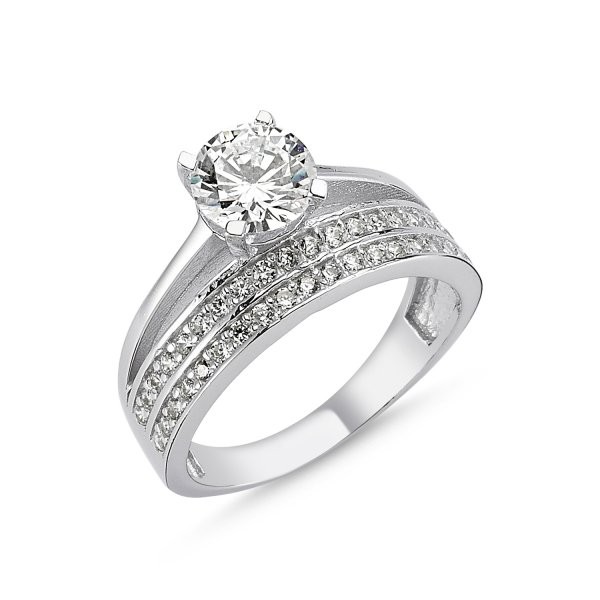 CZ Two Lines Half Eternity & Solitaire Ring - R82543
