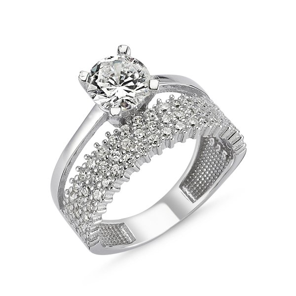 CZ Three Lines Half Eternity & Solitaire Ring - R82544