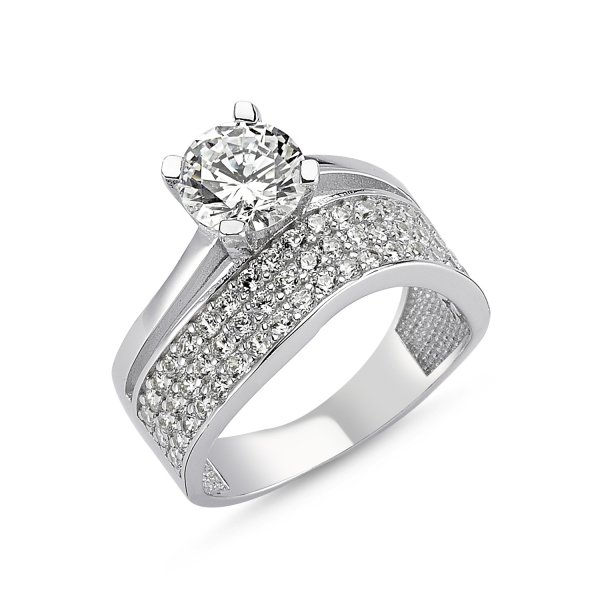 CZ Three Lines Twist Half Eternity & Solitaire Ring - R82545
