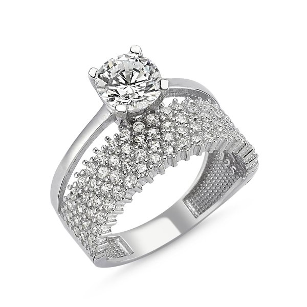 CZ Four Lines Half Eternity & Solitaire Ring - R82546