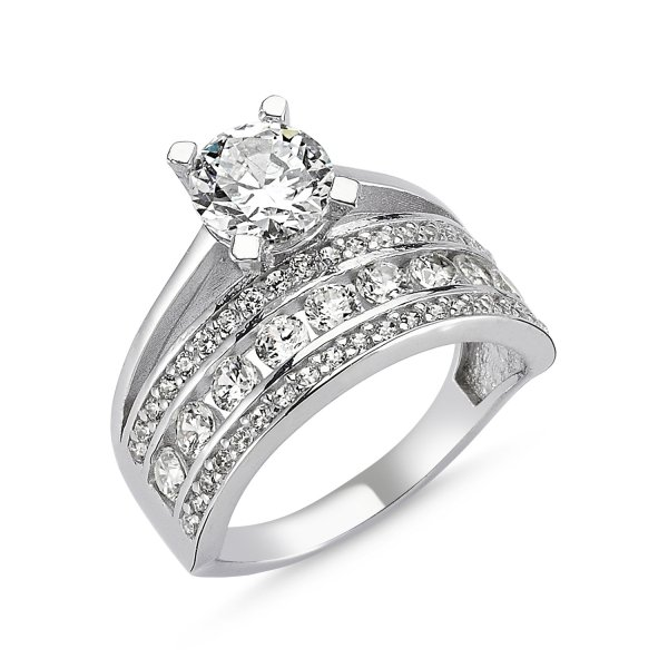 CZ Half Eternity & Solitaire Ring - R82547