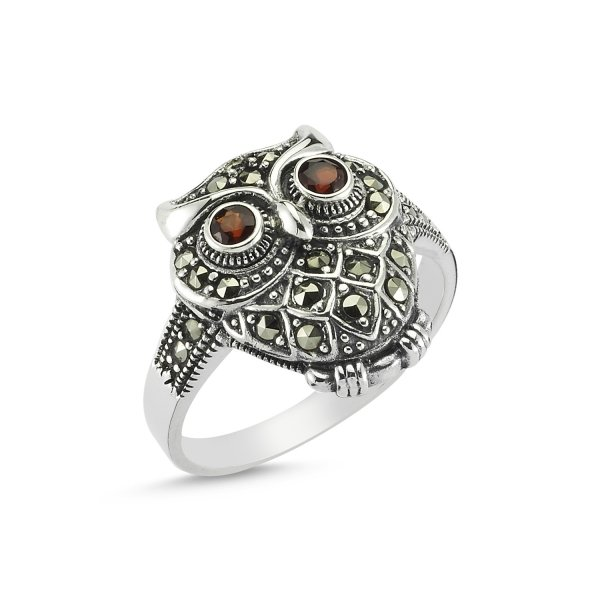 Marcasite Stone Owl Ring - R82737