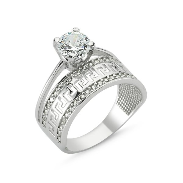 CZ Half Eternity & Solitaire Ring - R82783