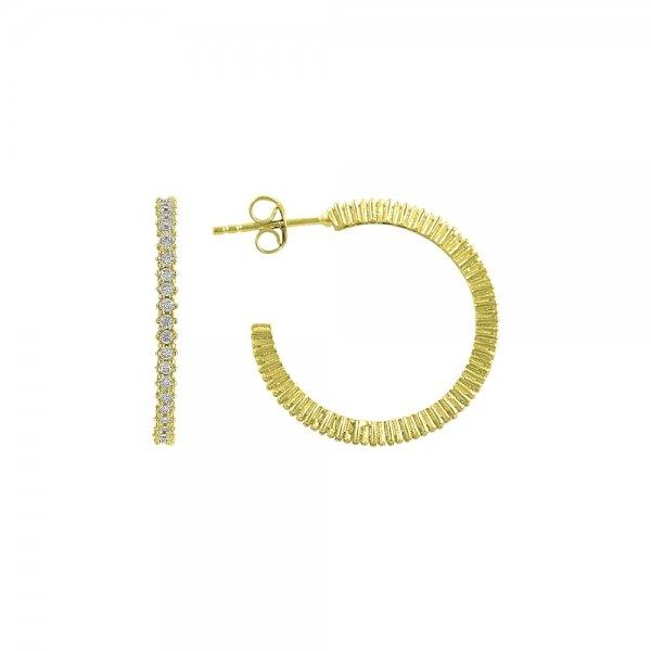 White CZ Single Line Eternity Hoop Earrings - E82982