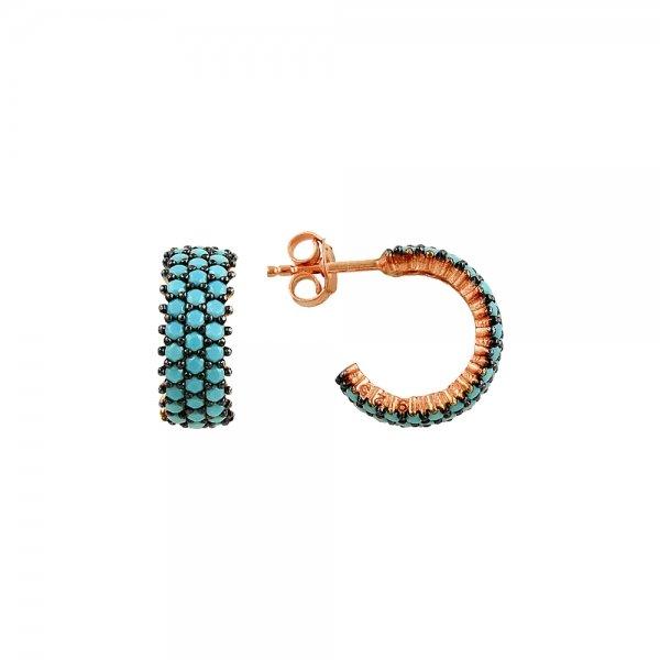 Turquoise CZ 3 Line Eternity Hoop Earrings - E82990