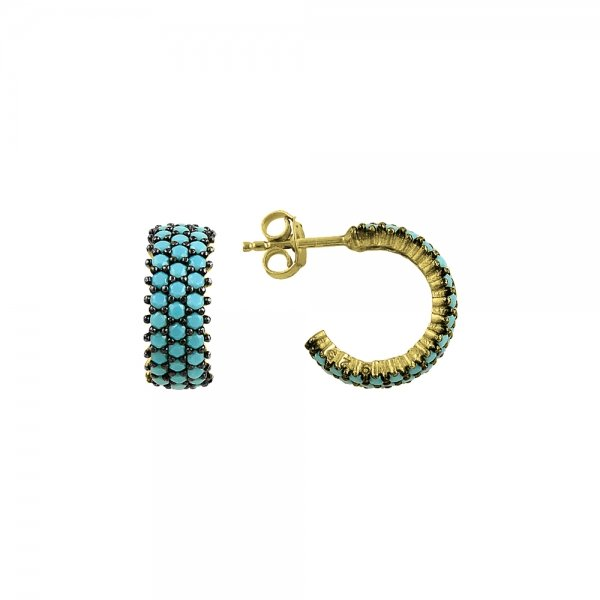 Turquoise CZ 3 Line Eternity Hoop Earrings - E82991