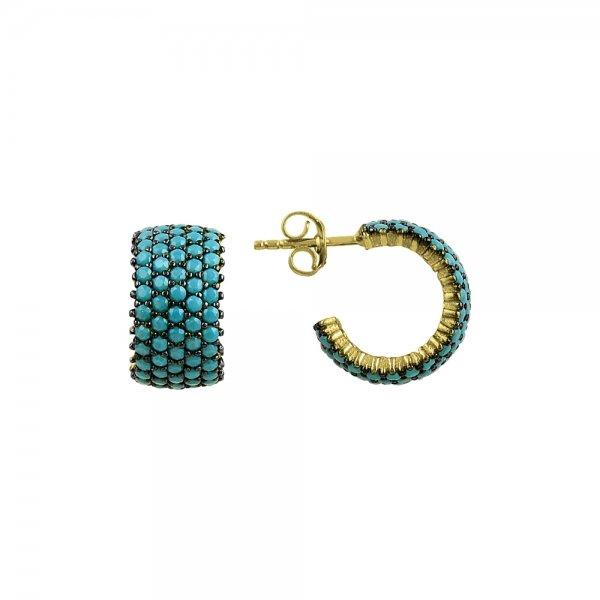 Turquoise CZ 5 Line Eternity Hoop Earrings - E82992