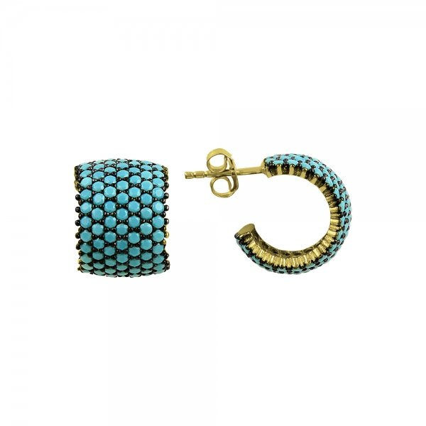 Turquoise CZ 7 Line Eternity Hoop Earrings - E82994
