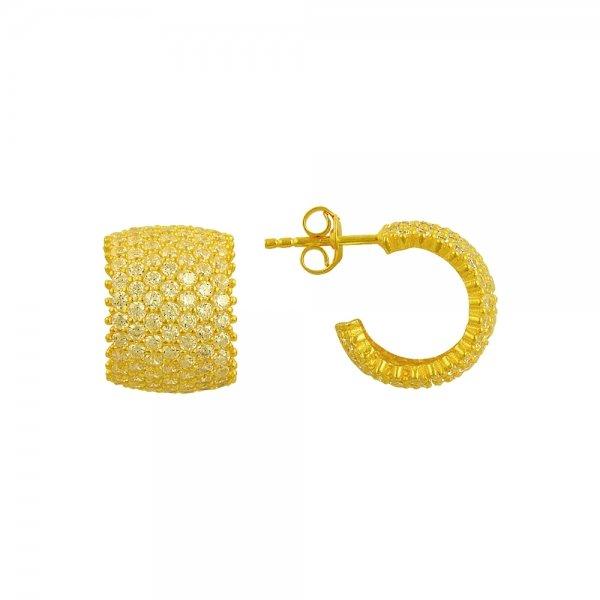 White CZ 7 Line Eternity Hoop Earrings - E83006