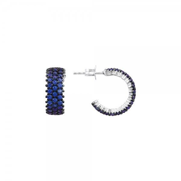 Sapphire CZ 3 Line Eternity Hoop Earrings - E83012