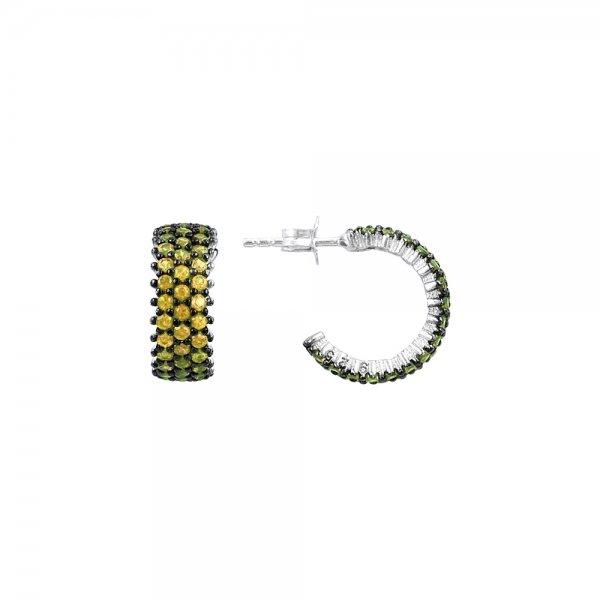 Citrine CZ 3 Line Eternity Hoop Earrings - E83014