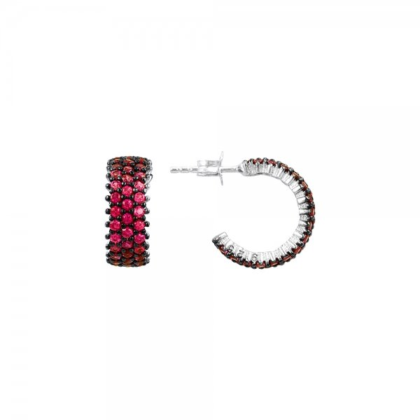 Ruby CZ 3 Line Eternity Hoop Earrings - E83015
