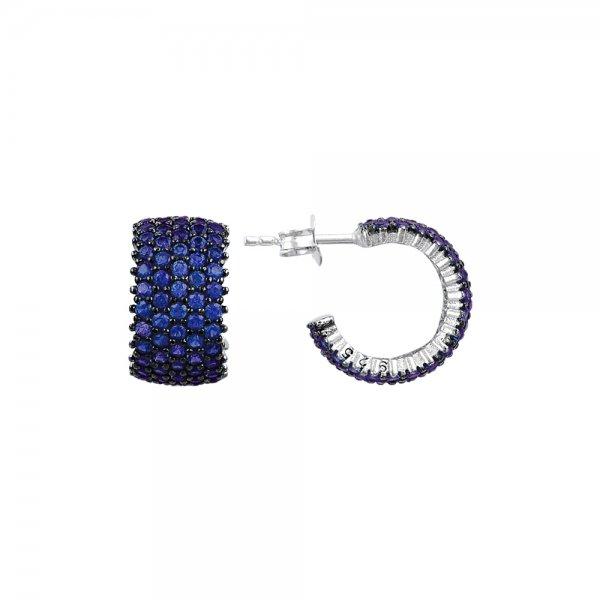 Sapphire CZ 5 Line Eternity Hoop Earrings - E83016