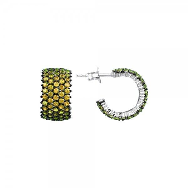 Citrine CZ 5 Line Eternity Hoop Earrings - E83018