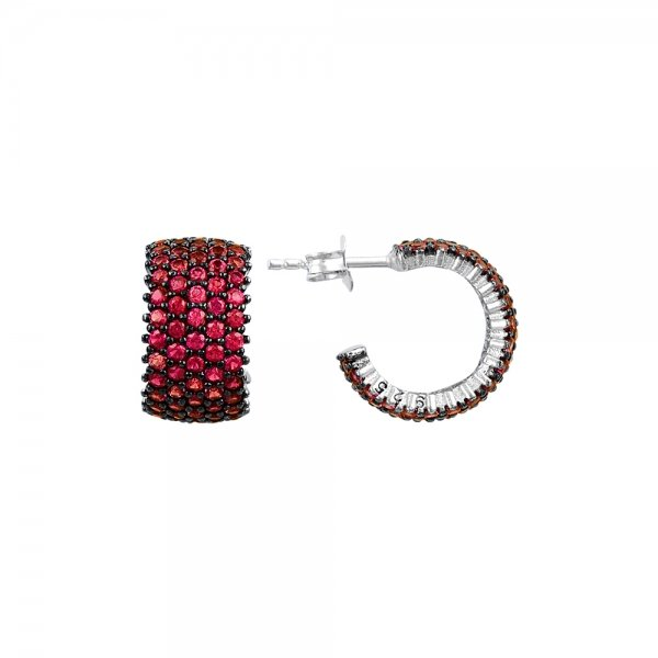 Ruby CZ 5 Line Eternity Hoop Earrings - E83019