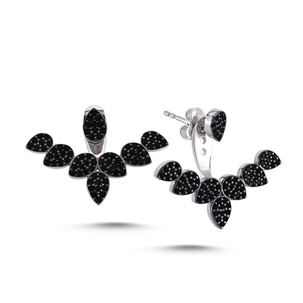 CZ Pear Design Double Earrings - E83049