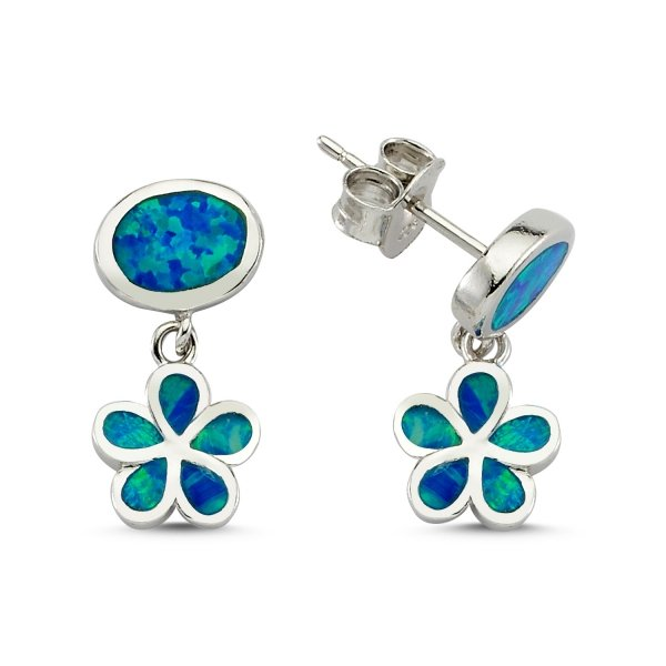 Blue Opal Flower Earrings - E83138