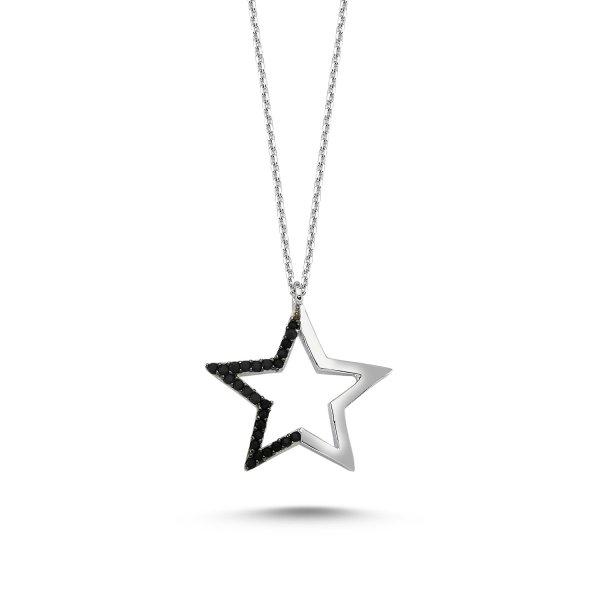 Black CZ Star Necklace - N83180