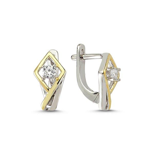 CZ Double Color Earrings  - E83189