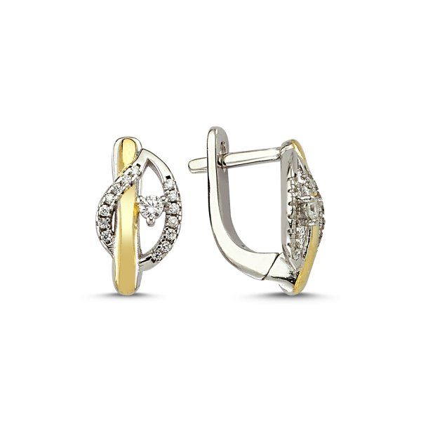 CZ Double Color Earrings  - E83199