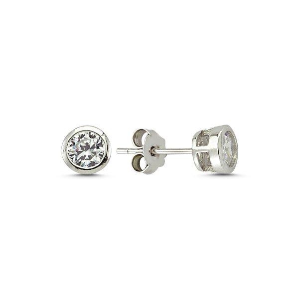 5mm Bezel Set CZ Solitaire Stud Earrings - E83273