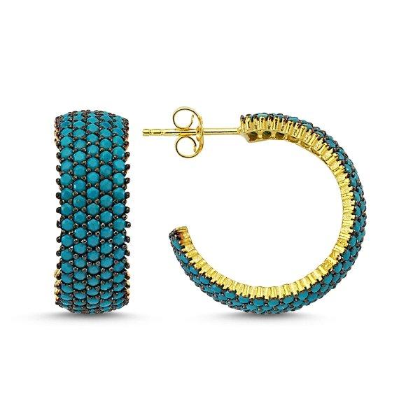 Turquoise CZ 5 Line Eternity Hoop Earrings  - E83300