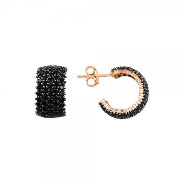Black CZ 5 Line Eternity Hoop Earrings - E83690