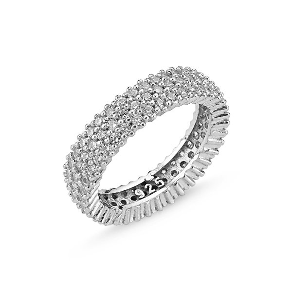 Rhodium Plated CZ 3 Line Eternity Ring - R83741