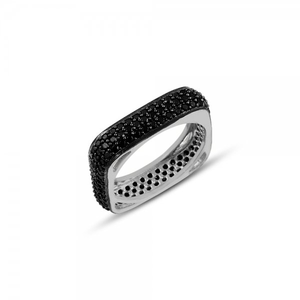 Rhodium Plated Black CZ 3 Line Square Eternity Ring - R83795